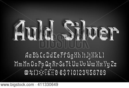 Auld Silver Alphabet Font. 3d Damaged Metal Letters, Numbers And Punctuations. Uppercase And Lowerca