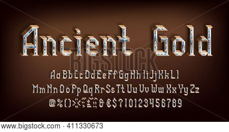 Ancient Gold Alphabet Font. 3d Golden Letters, Numbers And Symbols With Gemstones. Uppercase And Low