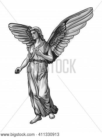 Standing Praying Angel Girl Sculpture With Wings. Monochrome Illustration Of The Statue Of An Angel.