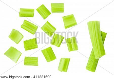 Celery  Isolated On White Background. Fresh Green Celery Chunks  Top View. Flat Lay