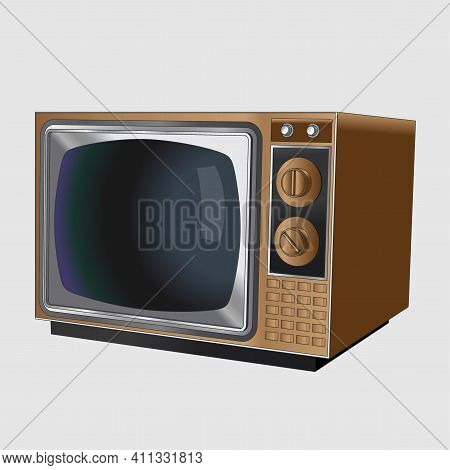 Vector Neat Accurate Illustration Of Old Vintage Black And White Tv Set In A Wooden Case. Realistic