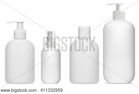 Cosmetic Bottle Mockup. Cosmetic Product Package. Pump Container Collection. Cosmetic Essence Spray,