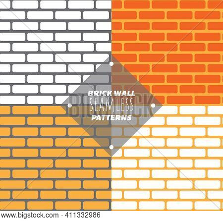 Seamless Pattern Vector Brick Wall - Background Pattern For Continuous Replicate. Set Of Various Col