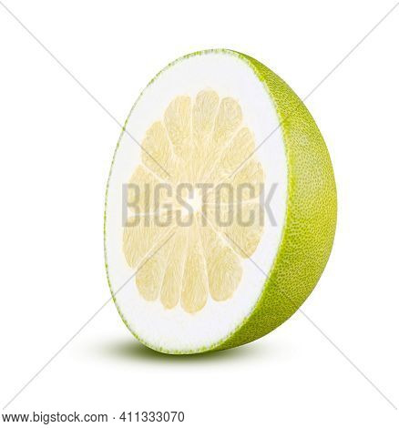 Perfectly Retouched Half Pomelo Isolated On White Background. Full Depth Of Field And High Resolutio