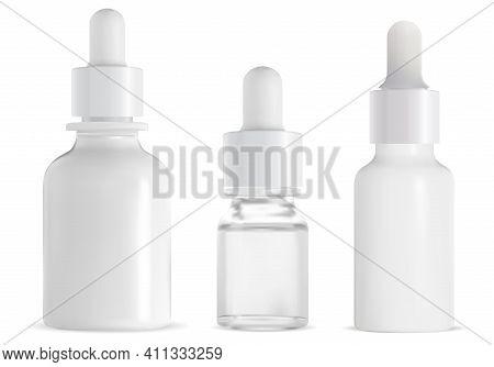 Dropper Bottle. Cosmetic Serum Drop Pipette Mockup. Glass Bottle, Eyedropper Essence Package, 3d Vec