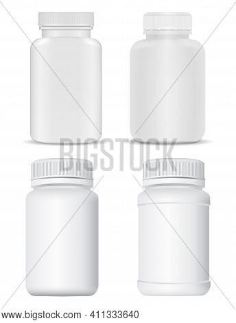 Pill Bottle Mockup. White Plastic Supplement Bottle. Medical Drug Container, Pill Jar, Pharmaceutica