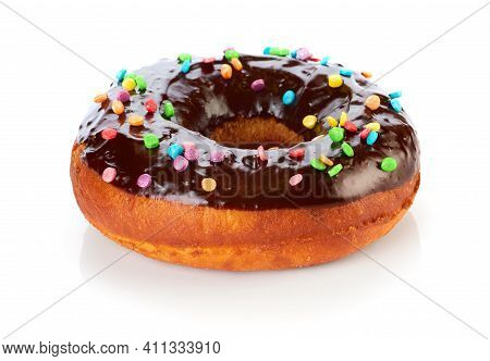 Donut With Chocolate Glaze, Isolated On White Background.