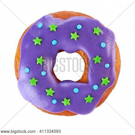 Donut With Colored Glaze, Isolated On White Background.