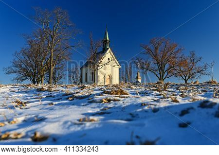 Beautiful Winter Landscape With Church. Sunny Winter Day. Brno - Lisen. Chapel Of Our Lady Of Helper