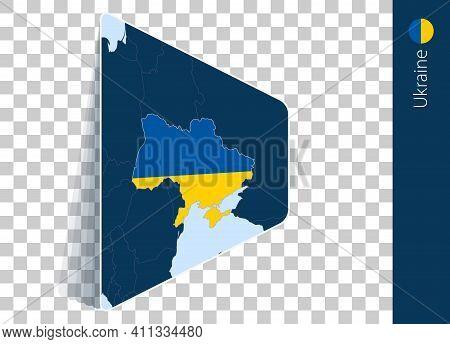 Ukraine Map And Flag On Transparent Background. Highlighted Ukraine On Blue Vector Map.