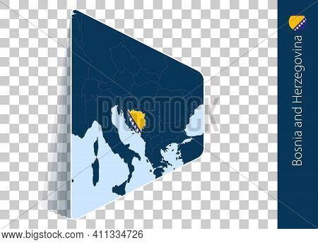 Bosnia And Herzegovina Map And Flag On Transparent Background. Highlighted Bosnia And Herzegovina On