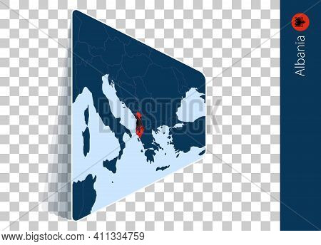 Albania Map And Flag On Transparent Background. Highlighted Albania On Blue Vector Map.