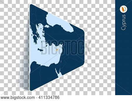 Cyprus Map And Flag On Transparent Background. Highlighted Cyprus On Blue Vector Map.