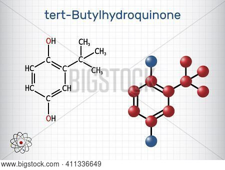 Tbhq, Tert-butylhydroquinone, Tertiary Butylhydroquinone Molecule. It Is Antioxidant, Food Additive
