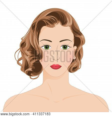 Woman Face Front View. Close-up Portrait Of A Young Attractive Woman With Brown Wavy Hair, Isolated
