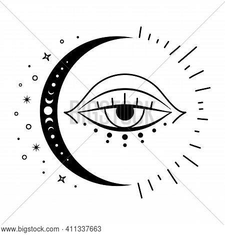 Boho Mystical Moon And Evil Eye. Vector Magic Symbol. Celestial Design Elements.