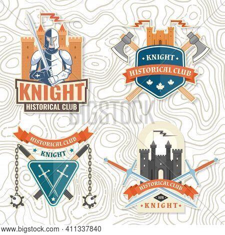 Set Of Knight Historical Club Badge, T-shirt Design. Vector Illustration. Concept For Shirt, Print,