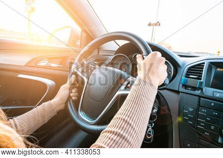 Ride Car. Young Happy Woman Have Travel Trip On Road. Fun Driver In Winter Vacation Ride Concept. Dr
