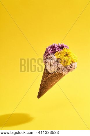 Bouquet Of Beautiful Flowers On A Yellow Background In Honor Of The Holiday On March 8. Cute Bouquet
