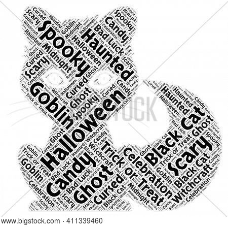 Halloween Cat Made of Words Isolated on White Background
