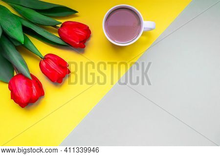 Flat Lay Greeting Card For Mothers Day, International Womens Day. Fresh Red Tulips And A Cup Of Coff