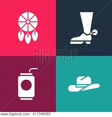 Set Pop Art Western Cowboy Hat, Soda Can With Straw, Cowboy Boot And Dream Catcher Feathers Icon. Ve