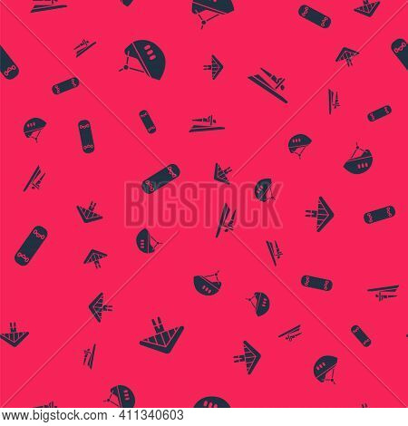 Set Hang Glider, Bicycle Helmet, Skateboard Trick And On Seamless Pattern. Vector
