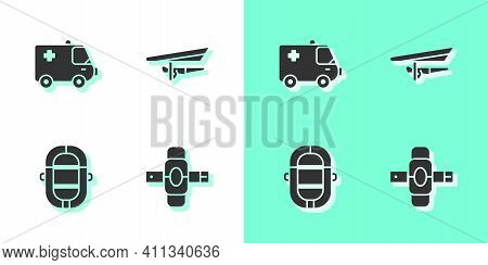 Set Knee Pads, Ambulance And Emergency Car, Rafting Boat And Hang Glider Icon. Vector