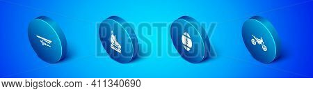 Set Isometric Hang Glider, Rugby Ball, Mountain Bike And Skates Icon. Vector