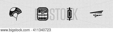 Set Helmet, First Aid Kit, Longboard Or Skateboard And Hang Glider Icon. Vector