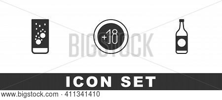 Set Effervescent Tablets In Water, Alcohol 18 Plus And Beer Bottle Icon. Vector