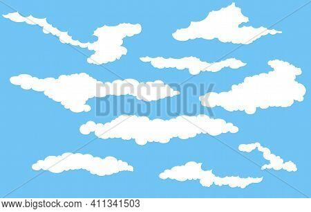 Cumulus Clouds. Graphic Silhouette Drawing. Vector Illustration.