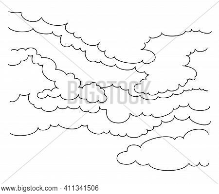 Cumulus Clouds. Graphic Line Drawing. Vector Illustration.