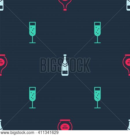 Set Bottle Of Cognac Or Brandy, Champagne Bottle And Glass Champagne On Seamless Pattern. Vector