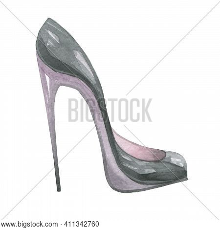 Classic Shoes With Stiletto Heels, Black High Heels. Watercolor