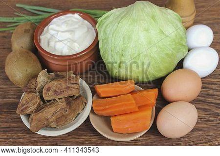 Prepare All The Ingredients Green Onion Natural Yogurt Boiled Beef Black Pepper Carrots Kiwi Salt Eg