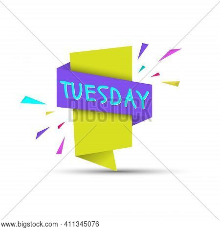 Tuesday. Colored Banner With The Name Of The Day Of The Week. Stock Vector Illustration