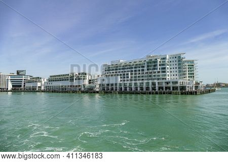 Waterside Building In Auckland, A Large City In The North Island Of New Zealand