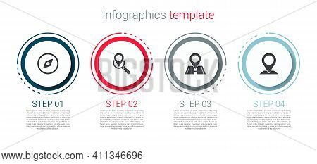 Set Compass, Search Location, Location And . Business Infographic Template. Vector