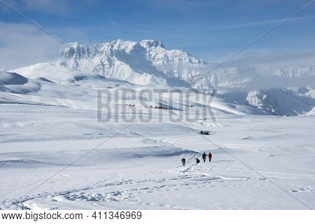 Winter Trekking In Spiti Valley, Himachal Pradesh, India.