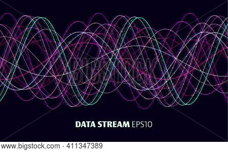 Abstract Signal Vector Background. Vector Sound Wave. Data Stream Signature. Big Data.