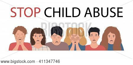 Stop Child Abuse Banner. Family Violence, Psychological Abuse And Aggression Concept. Scared, Stress