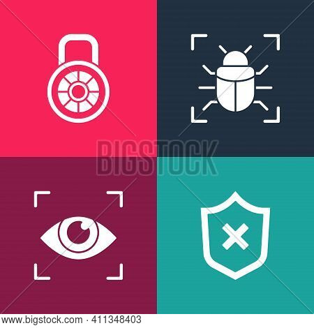 Set Pop Art Shield With Cross Mark, Eye Scan, System Bug And Safe Combination Lock Icon. Vector