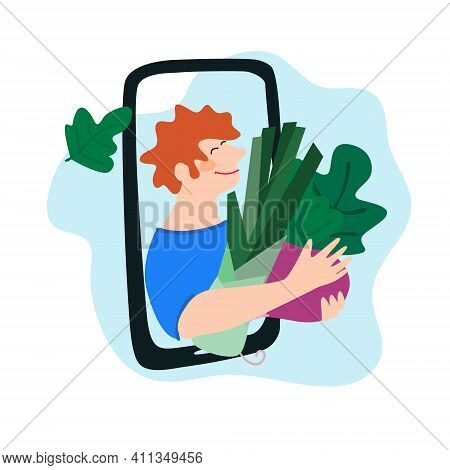 Fresh Vegetables Delivery Concept. Buy Online Concept. Friendly Man Passing Leek And Beetroot Throug