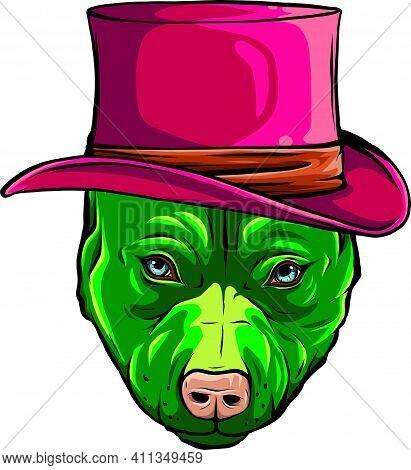 Green Pitbull Dog With Hat Vector Illustration Design