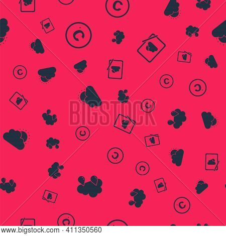 Set Cloud With Rain, Celsius, Sun And Cloud Weather And Weather Forecast On Seamless Pattern. Vector