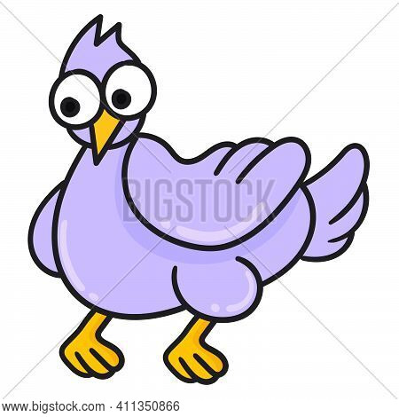 Poultry Turkey Is Purple Doodle Kawaii. Doodle Icon Image. Cartoon Caharacter Cute Doodle Draw