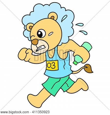 The Lion Is In A Running Race Doodle Kawaii. Doodle Icon Image. Cartoon Caharacter Cute Doodle Draw
