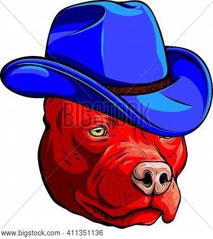 Head Pitbull With Fedora Hat Vector Illustration
