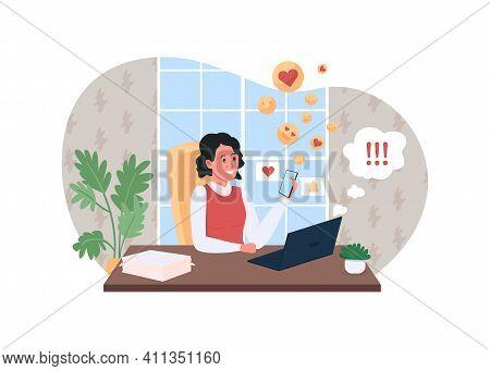 Work Procrastination 2d Vector Web Banner, Poster. Delayed Deadline. Woman Addicted To Social Media